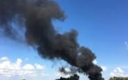 Columna de humo negro muy cerca de Ruta 8